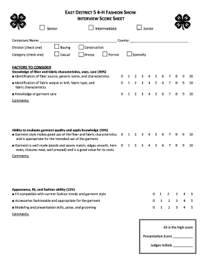 Printable Sample Interview Score Sheet Template Fill Out