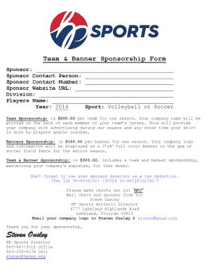 Fillable Online Team amp Banner Sponsorship Form Fax Email