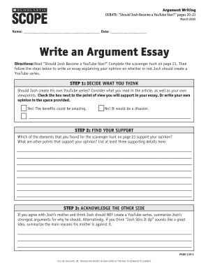 Health Essay Writing Scholastic Scope Write An Argument Essay  Fill Online Printable  Fillable Blank  Pdffiller Interview Essay Paper also Business Essays Scholastic Scope Write An Argument Essay  Fill Online Printable  Science Essay Ideas