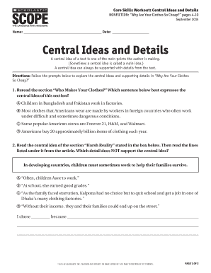 Fillable Online Core Skills Workout: Central Ideas and