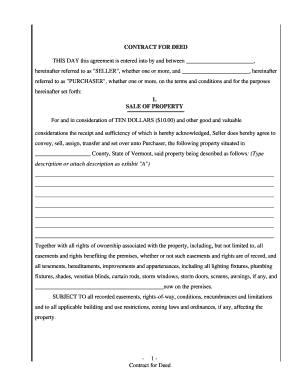 fillable online vermont agreement or contract for deed for sale and purchase of real estate a k