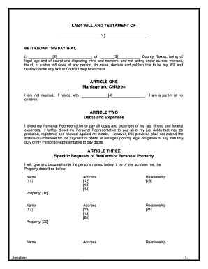 Bill Of Sale Form Texas Last Will And Testament Form Templates