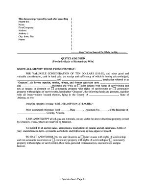 Bill Of Sale Form Arizona Quitclaim Deed Sample Templates ...