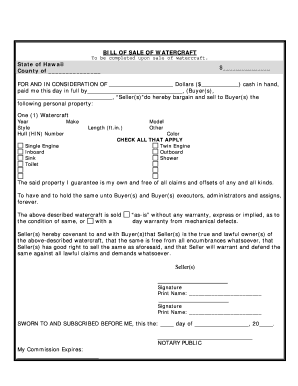 Bill Of Sale Hawaii - Fill Online, Printable, Fillable, Blank ...