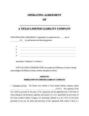 Texas Llc Company Agreement Fill Online Printable