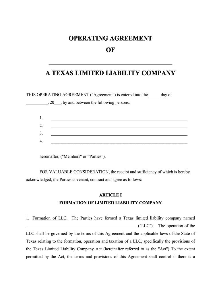 Llc Texas - Fill Online, Printable, Fillable, Blank  pdfFiller
