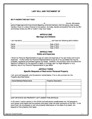What is last will form fill online printable fillable for Last will and testament free template maryland