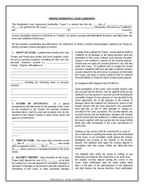 Fillable Online Virginia Residential Rental Lease Agreement Fax
