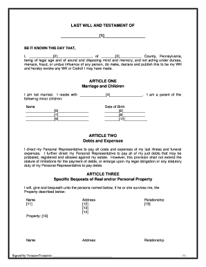 Bill Of Sale Form Pennsylvanian Last Will And Testament Sample ...