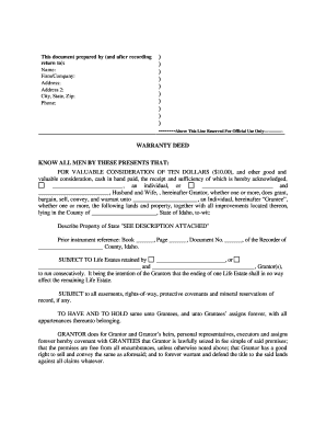 Idaho Warranty Deed For Parents To Child With Reservation Of Life Estate.  Joint Tenacy Louisiana Sample Deed Form
