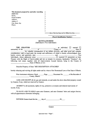 quick claim deed form for illinois  Fillable Online Illinois Quitclaim Deed from Individual to ...