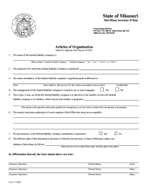 Fillable Online Missouri Articles of Organization for Domestic ...