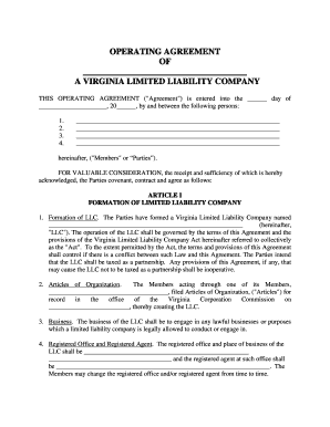 Virginia Limited Liability Company Llc Operating Agreement