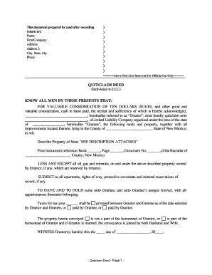 quit claim deed new mexico Nm Quitclaim Deed Form Free - Fill Online, Printable, Fillable ...