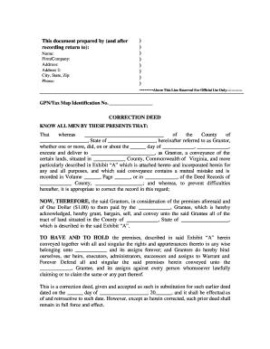 Virginia Warranty Deed For Correction