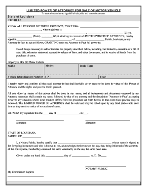 Bill Of Sale Form Louisiana Vehicle Power Of Attorney Form
