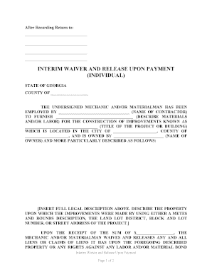 Fillable Online Georgia Interim Waiver and Release Upon Payment ...