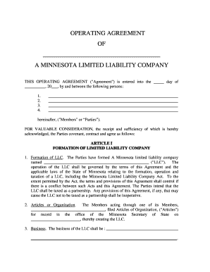 29 Printable Llc Operating Agreement Forms And Templates Fillable