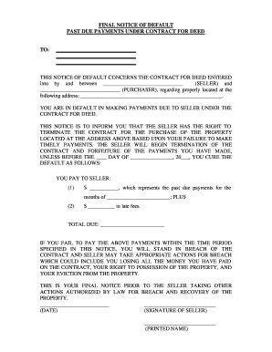 Florida Final Notice of Default for Past Due Payments in connection with Contract for Deed