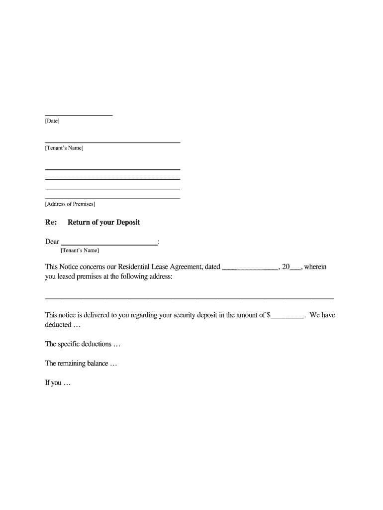 Demand Letter For Security Deposit Refund from www.pdffiller.com