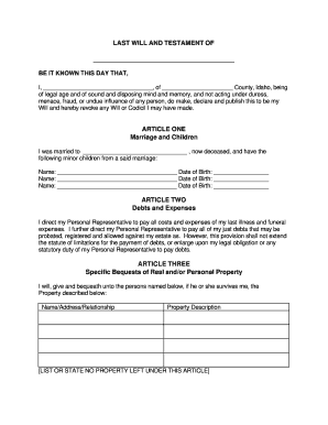 Free Last Will And Testament Form Idaho