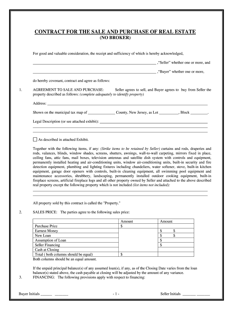 Standard Contract Sale House Nj Fill Online Printable