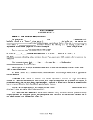 Bill Of Sale Form Michigan Warranty Deed Form Templates - Fillable ...