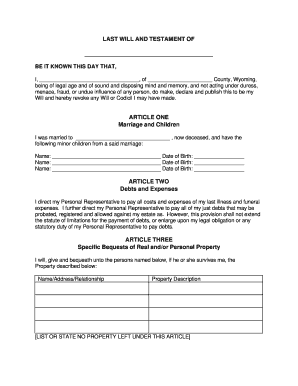 Bill of sale form wyoming last will and testament form for Last will and testament template ontario