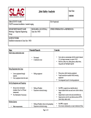 35 Printable Job Safety Analysis Forms and Templates - Fillable ...