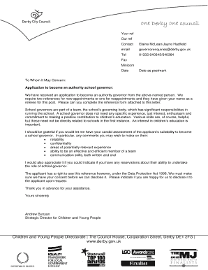 Professional reference letter and form - Derby City Council
