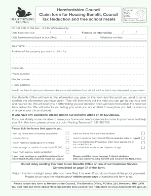 hereford housing benefit form online