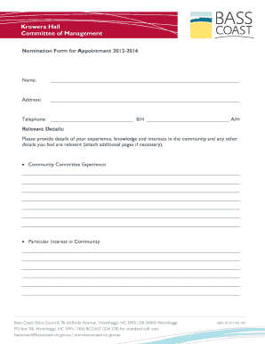 Fillable Online 2012 08 29 Committee of Management Nomination Form ...