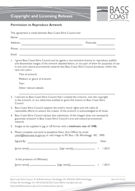 Copyright and Licensing Release form. - Bass Coast Shire Council