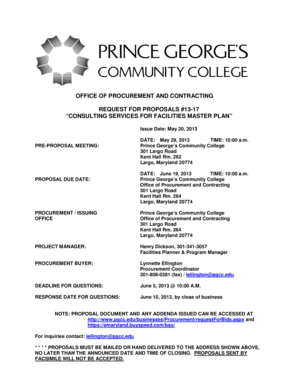 Consulting services for facilities master plan - Prince George39s bb - pgcc