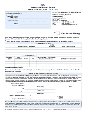 Clark County Personal Property Tax Return