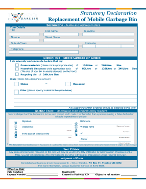 Bin replacement statutory declaration form - City of Darebin