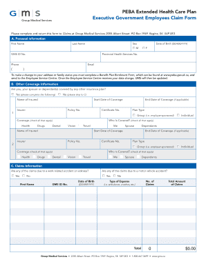 Group Medical Services: GMS PEBA Health Claim Form: Effective ...