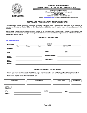 Fillable Online Co Davidson Nc Mortgage Fraud Notary Complaint Form