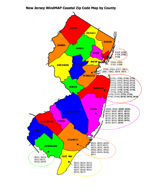 Fillable Online njiua New Jersey WindMAP Coastal Zip Code ...