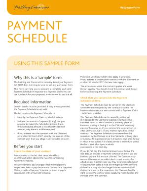 Fillable Online buildingcommission com Payment Schedule (sample ...