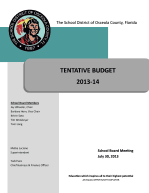 Tentative Budget Template.pub - Osceola County School District