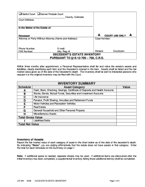 Colorado Bar Assoication Decedents Estate Inventory Form - Fill ...