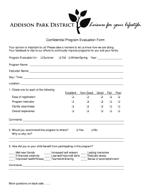 program evaluation form templates fillable printable samples for
