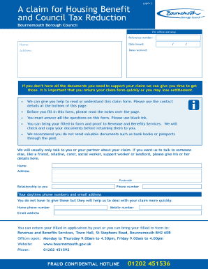 Housing Benefit & Local Council Tax Reduction Application Form - bournemouth gov