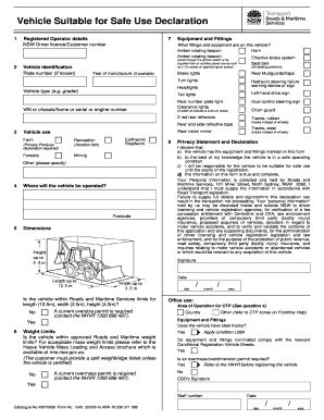 vehicle suitable for safe use declaration 2014  form