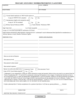 Fillable Online MILITARY AND FAMILY MEMBER PREFERENCE CLAIM FORM ...