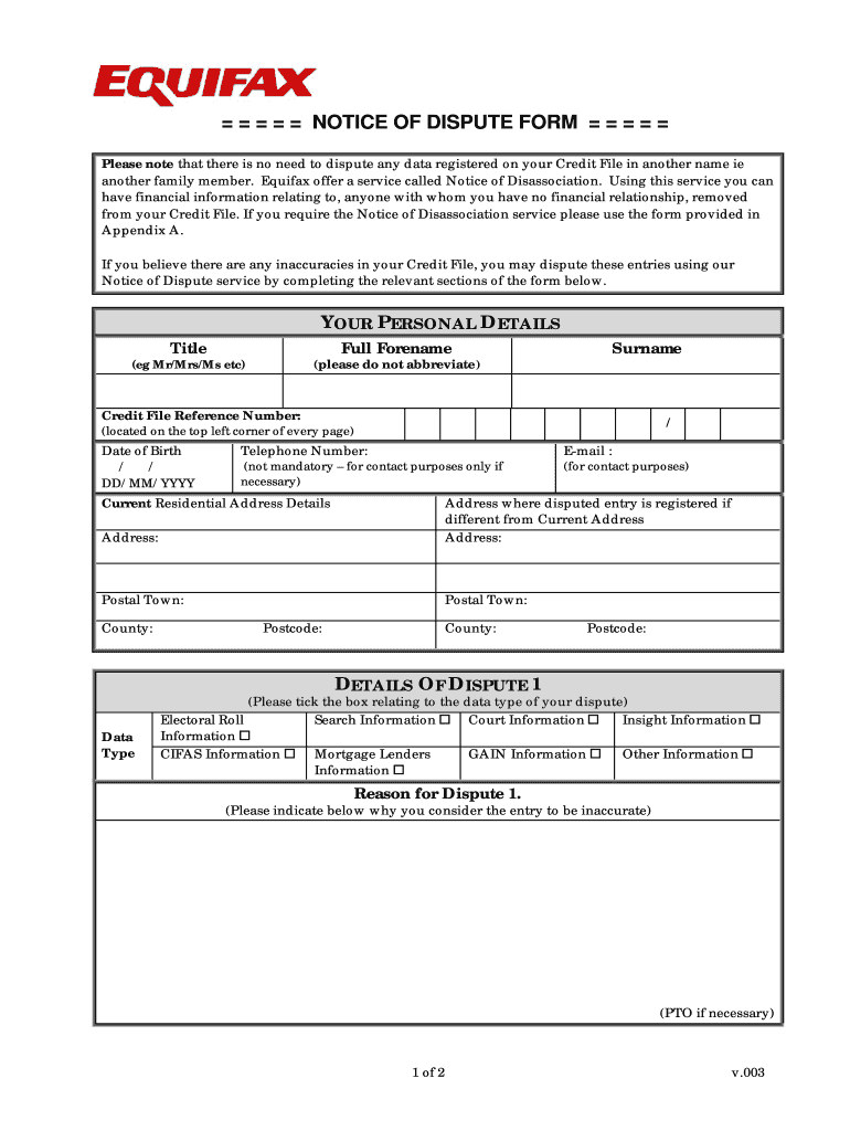 Equifax Dispute Form - Fill Online, Printable, Fillable, Blank