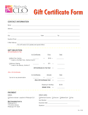 fillable online gift certificate form pittsburgh clo fax email