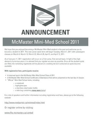 Get The Announcement Mcmaster Mini Med School Beserta Artinya Form