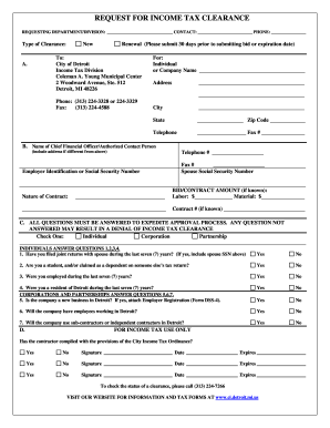 Income Tax Clearance - Fill Online, Printable, Fillable, Blank ...